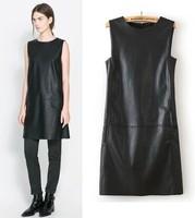 New 2015 Brand ZA summer dress Genuine Leather  bodycon dress Women Balck(S M L)