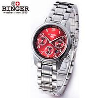 Swiss luxury brand stainless steel red dial Sapphire Watches Waterproof Wristwatch Women 2014 new trendy Dress Wrist Watch