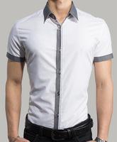 Free shipping 2014 new style Mens Fashion casual Short Sleeve Shirts high quality Summar Slim Shirts