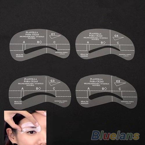 4pcs set Styles Grooming Stencil Kit Make Up MakeUp Shaping DIY Beauty Eyebrow Template Stencils Tools
