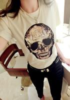 2014 Summer Dress New European High-Grade Cotton Patch Stitching Slim Round Neck Short Sleeve Female Skull T-shirt