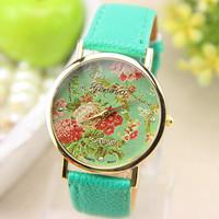 New Fashion Leather GENEVA Flower Watch For Women Dress Watch Quartz Watches 1pcs/lot