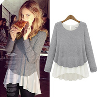free shipping 2014 spring women's fashion basic lace shirt top lady's casual patchwork blouses