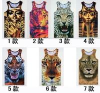 Free shipping 2014 New fashion Women/Men leopard Animal 3D Sleeveless t shirts Vest Tanks Tops Tees plus size M-XXL