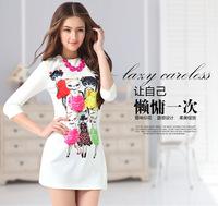 2014 spring fashion series plus size fashion slim the cat basic one-piece dress