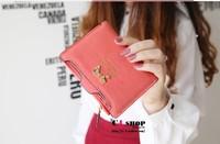 Free Shipping!2014New Hot Sale Bowknot Women Wallets Pu Leather Female Wallet Fashion Lady Change Purse Women's Card Bag