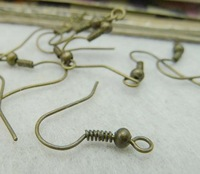 Earrings- ear wire with bead, 16x17mm, antique bronze, wholesale