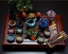 Binglie glazed ceramic tea sets special offer purple kung fu tea set of wooden tray colorful