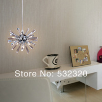 Free Shipping Modern 6 Lights Crystal Pendant Lamp With Clear Flower Design For Dinner Room