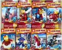 8 pcs/pack Marvel Building Blocks Toys 8 Different Models IRON MAN Mini Figure Block Toy Set For Children New In Box