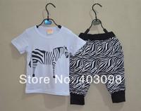 2014 item boy summer sports suit kids cartoon clothing set zebra design