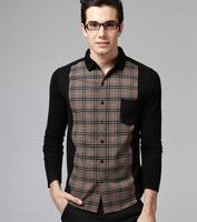2014 Spring Autumn New Fashion Men Retro Plaid Long Sleeve Shirts Casual Brand Clothes Black Top Quality