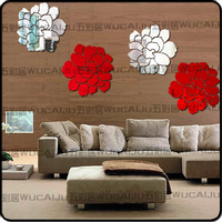 2014 New Euope Ikea Style  2mm Thick Large Flowers Wall Mirror Acrylic Crystal Three-Dimensional Wall Mirror Stikers W7