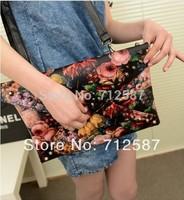 2013 punk oil painting clutch rivet day clutch bag envelope bag shoulder bag cross-body women's handbag Free Shipping#5954