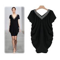 Vintage loose V-neck beading paillette big v-neck dress 1833