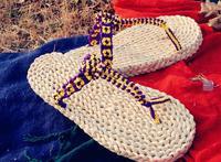 2014 Summer New Casaul Eco-friendly Natural Straw Slippers Male/Women Flip Flops Handmade  Linen Tatbeb Purple,Yellow Green Shoe