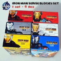 6 pcs/pack Marvel Building Blocks Toys IRON MAN Serise Mark 7/Mark 17/Mark 41/War Machine/Patriot ABS Mini Figure Block Toy Set