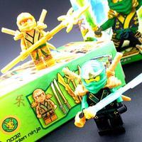 2 pcs/pack Ninjago Building Blocks Toys Green Ninja Lloyd Garmadon And Final Battle Gold Ninja ABS Mini Figure Block Toy Set