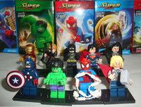 9 pcs/lot The AvengersCaptain America/Hulk/IRON MAN/Superman/Thor/Spider-man/Batman/Hawkeye/General Zod Building Block Toy Set