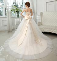 The bride wedding dress formal dress 2014 lace champagne color plus size mm female wedding dress train