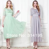 2014 summer new fashion women vintage chiffon long dress puff sleeve ruffle collar lady silk brief dress one-piece dress 86012