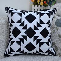 "18 * 18 "" Decorator Geometric Prints Throw Cushion Cover Pillow Case, Black"