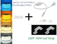 10M/Lot Waterproof  220V 5050 SMD LED Flexible strip light Ribbon 60led/meter Red Green Blue Yellow White RGB+Power Plug