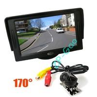 "Metal Reversing Parking Camera Sensor 170 Degree Waterproof + 4.3"" LCD Monitor Car Rear View Kit  10pcs/lot"