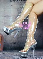 New arrival 15 cm high-heeled boots gel coat queen medium-leg boots full transparent crystal shoes