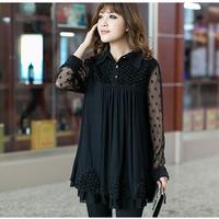 2014 New Arrival Fat Women's Lace Blouse  Plus Size XXXXXL Maternity Chiffon Shirt Long-Sleeve Pregnant Black Basic Loose Tops