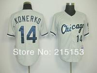 Free Shipping Chicago White Sox Paul Konerko Jersey #14 Paul Konerko Throwback Baseball Jersey Embroidery Logos