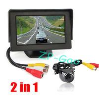 "Metal Reversing Parking Camera Sensor 170 Degree Waterproof + 4.3"" LCD Monitor Car Rear View Kit  40pcs/lot"