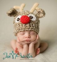 Retail Newborn Photography Props Fashion Elk styles baby hat crochet handmade knitted hat baby Christmas gift