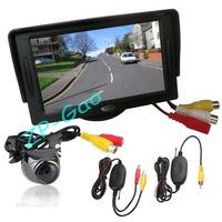 "4.3"" TFT LCD Monitor Car Rear View Kit + Wireless Metal Reversing Camera Sensor 170 degree Waterproof Free Shipping"