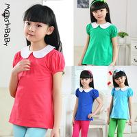 2014 summer new arrival children's cotton lycra girls kids peter pan collar bubble short-sleeved t-shirts 6-14