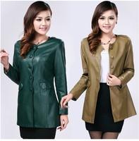 Hot ! Spring 2014 new women's brand , large size ladies fashion Slim round neck long section sheep Phi coat, free shipping