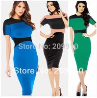 2014 Export quality Plus size clothing one-piece dress fashion color block patchwork short-sleeve dress