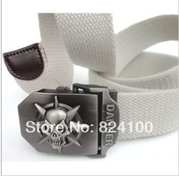Super personality skulls man with thick canvas belt Men's and women's fashion leisure belt