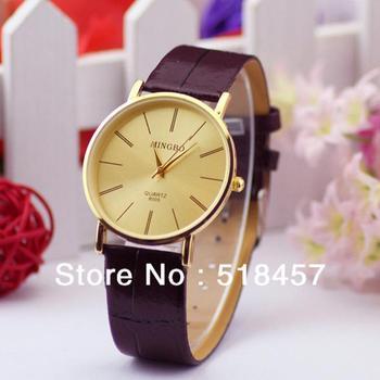 Точная золотой роскоши нежный мужская кожаный ремешок кварцевые наручные часы лучшие продажи новый бесплатная доставка
