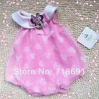 In Stock! Baby Girls Summer Dress, Pink cute cartoon toddler infant dress one-piece chiffon wear 6pcs/lot
