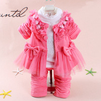 Retail 3pcs/Set Fashion 0~3T Baby Girls Nice Flowers Lace Bows Dress Clothes Set, Cardigan+ Blouse+ Pants,Free shipping, 243