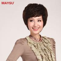 Hand-made real hair full elegant women's fluffy oblique bangs breathable ji am403 for af