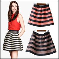 Elasticity Waist Striped Pleated Skirts