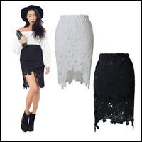 Sexy Asymmetry Lace/Crochet  Pencil Skirt White/Black