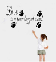 [Stay With You]Free shipping 1pc/lot quote wall stickers AF8066 25*66cm Love is four legged word
