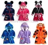 JP033,5pcs/lot Free shipping new baby girl boy cartoon pajamas Micky Minnie Mouse bathrobes robe kids soft bath towel wholesale