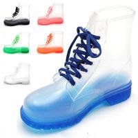 2014 PVC Transparent  Women Rain Boots & Girl's Square Rubber Heel Gumboots White Black Waterproof Martin Rainboots Shoes SRA001