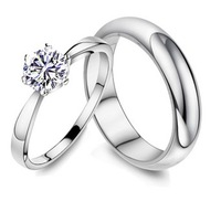 Sterling Silver Simulated Diamond Couple Rings for Men/Women Bridal Jewellery,casal anel de casamento,femmes / hommes anneau,