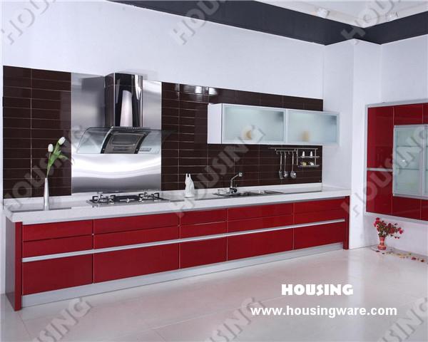 Blum hinge white and red kitchen cabinet design(China (Mainland))