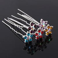 Boutique multicolor rhinestone flower hair stick hair accessory the bride hair accessory